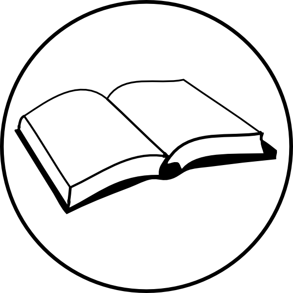 600x600 Open Book Badge Clip Art