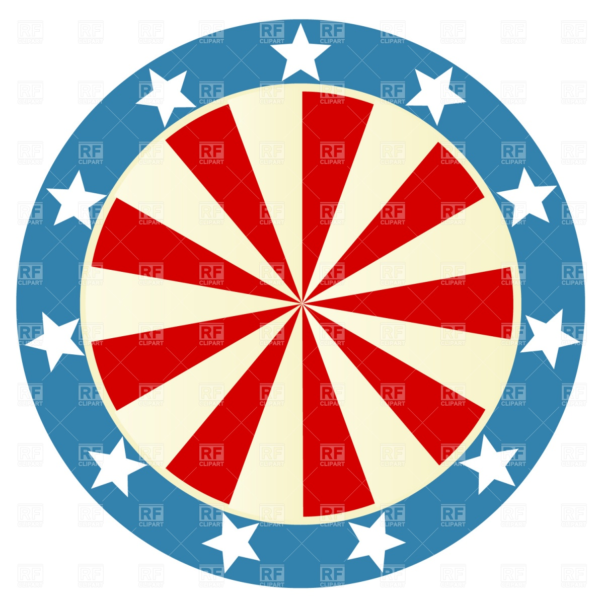 1200x1200 Patriotic round badge Royalty Free Vector Clip Art Image