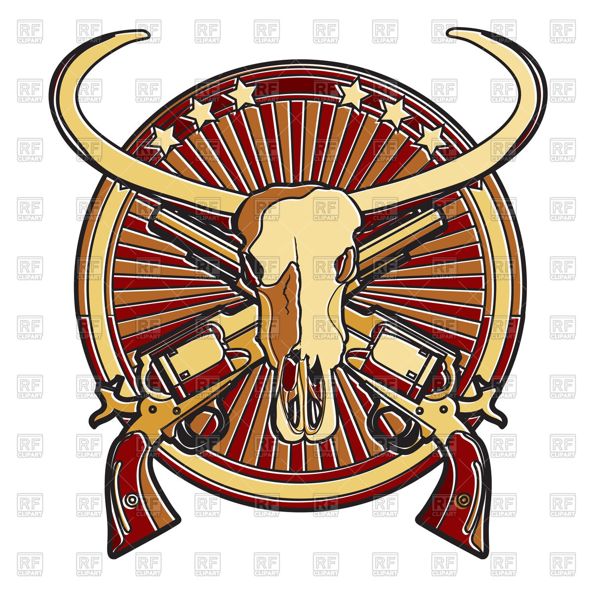 1200x1200 Wild West Badge with buffalo skull Royalty Free Vector Clip Art