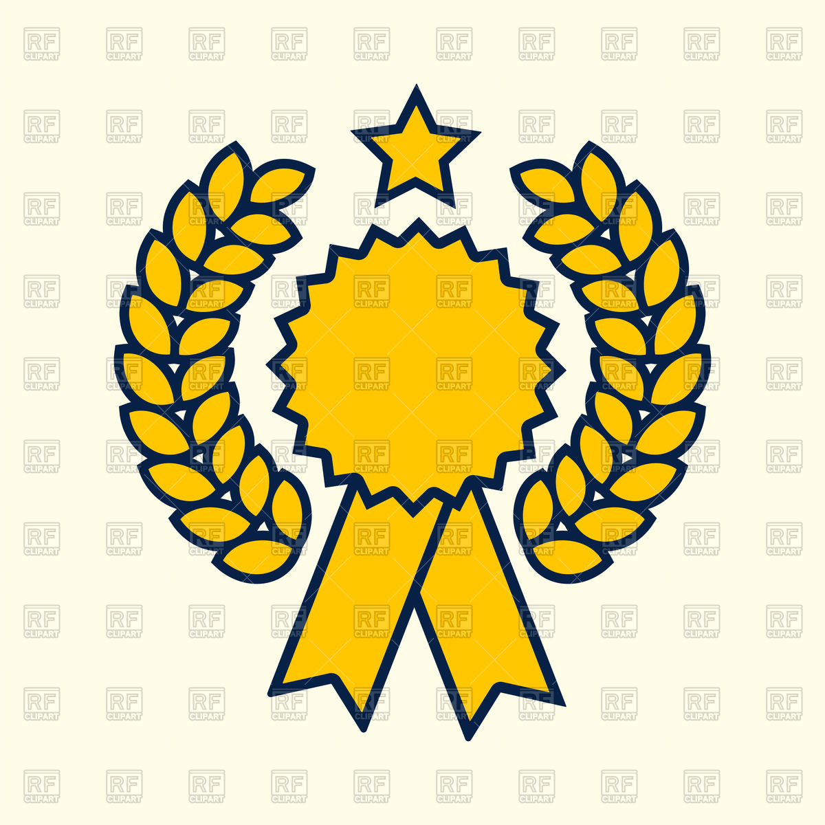 1200x1200 Winner yellow badge, success rosette on white background Royalty