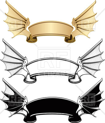 341x400 Ribbon Banner With Wings Royalty Free Vector Clip Art Image