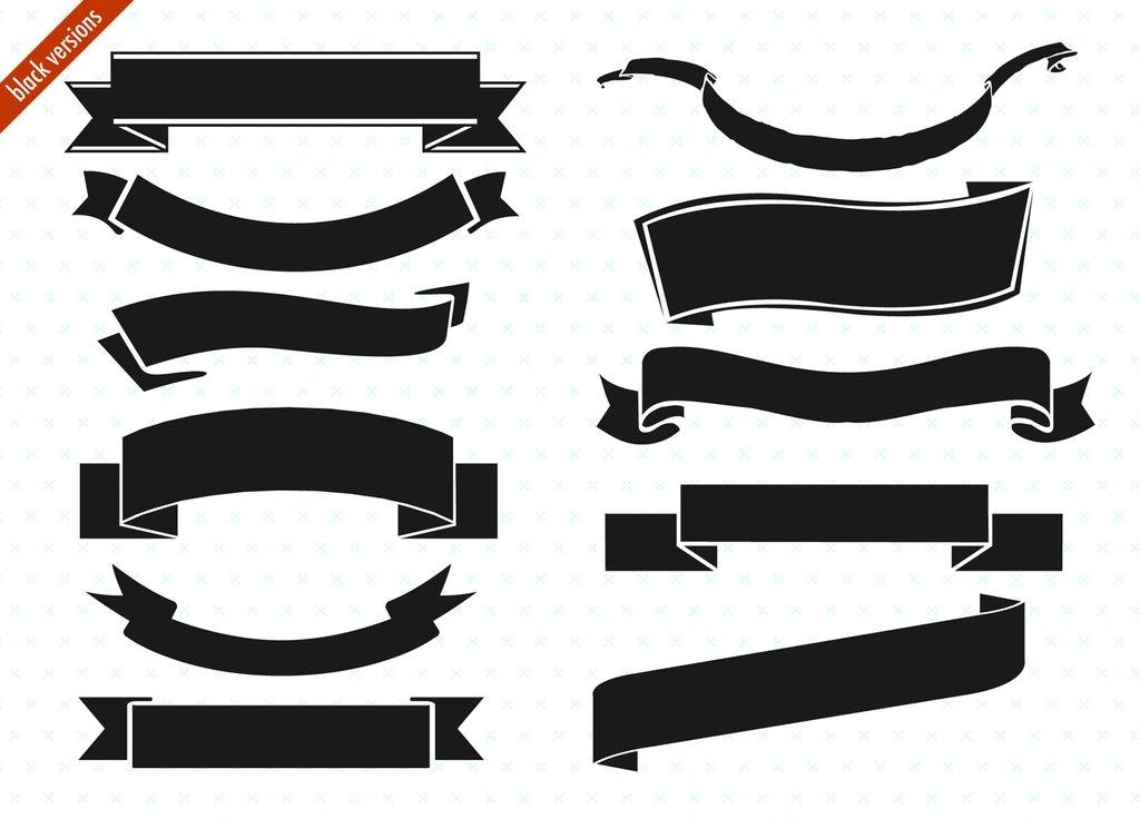 1024x736 Black Ribbon Banner Clip