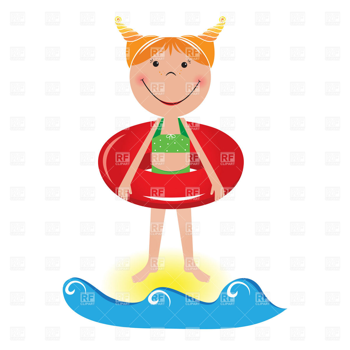 1200x1200 Happy Little Girl With Life Buoy On The Beach Royalty Free Vector