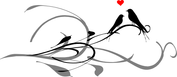 600x263 Love Birds On A Branch Black Dark Grey Clip Art