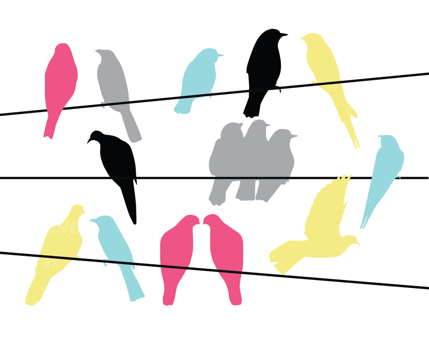 1500x1200 Birds On A Wire Silhouette Clip Art