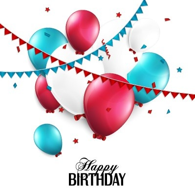 399x384 Creative Happy Birthday Background With Balloon Vector Free Vector