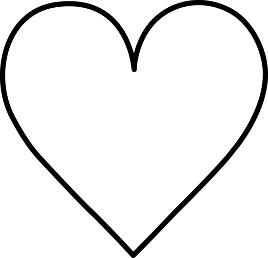 550x530 Heart Black And White Black And White Heart Outline Clipart Kid