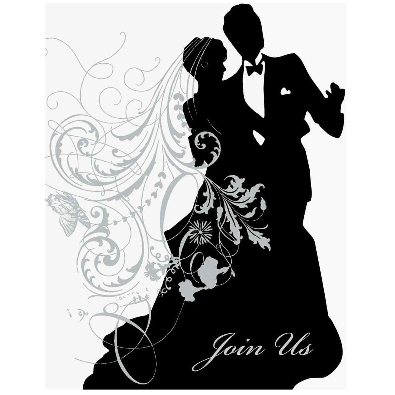 1264x1264 Bride And Groom Silhouette Clipart Black And White