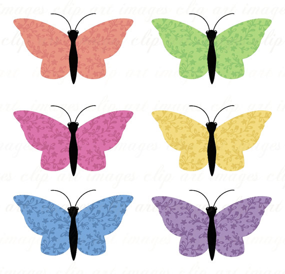 570x549 Cu Calico Butterfly Clip Art, Peach, Pink, Yellow, Green, Blue