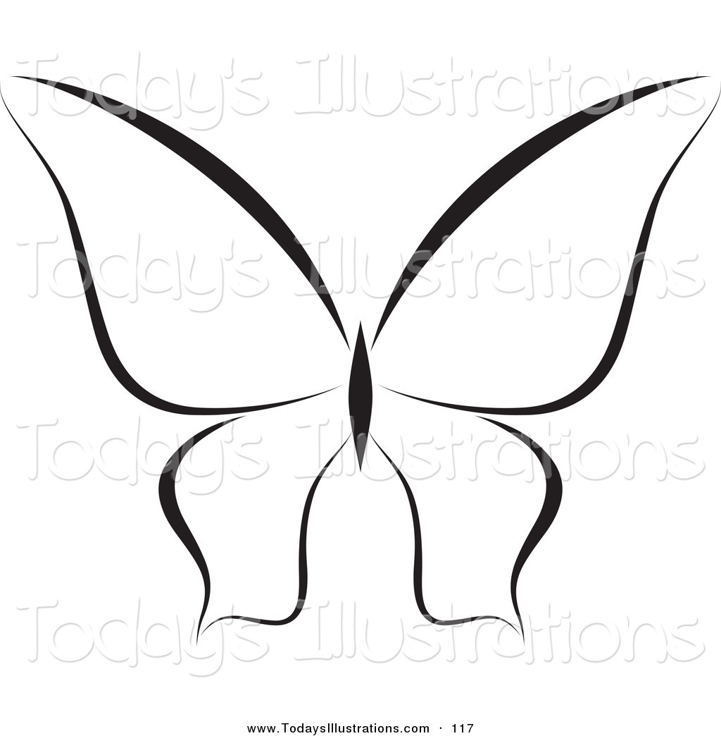 1024x1044 Clipart Of A Black And White Butterfly Logo Or Coloring Page By
