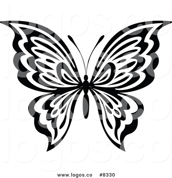 600x620 Royalty Free Clip Art Vector Black And White Butterfly Logo By