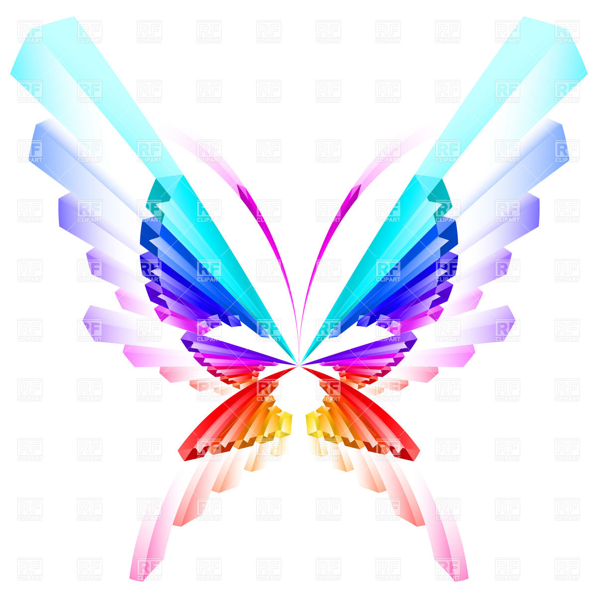 1200x1200 Abstract Colorful Butterfly Royalty Free Vector Clip Art Image