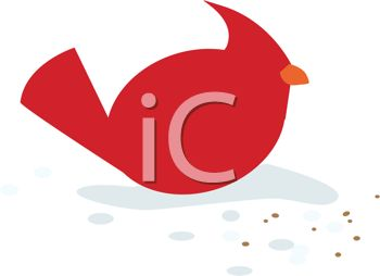 350x254 Little Red Cardinal Bird Eating Seeds In The Snow