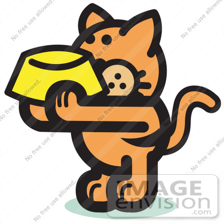 450x450 Royalty Free Cartoon Cliprt Of Hungry Orange Cat Holding Up
