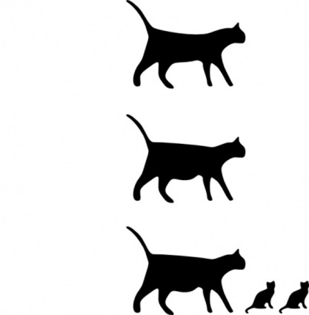 614x626 Black Cat Icons Without Detail Clip Art Set In Side View