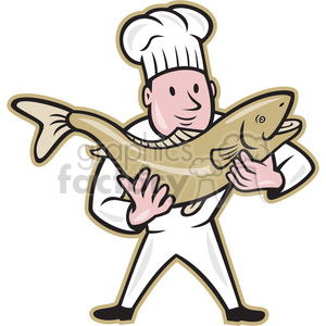 300x300 Royalty Free Chef Cook Holding Trout Fish 388096 Vector Clip Art