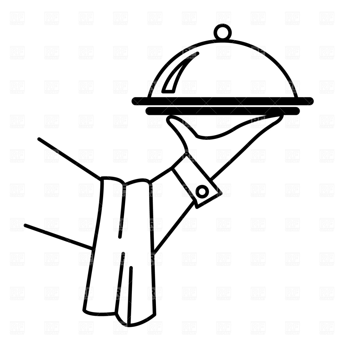 1200x1200 Waiter's Hand With Tray Royalty Free Vector Clip Art Image