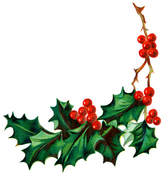 558x600 Holly Free Christmas Clip Art Holly Clipart Images 3