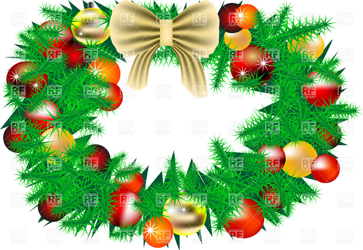 1200x829 Christmas Wreath With Decorations Royalty Free Vector Clip Art