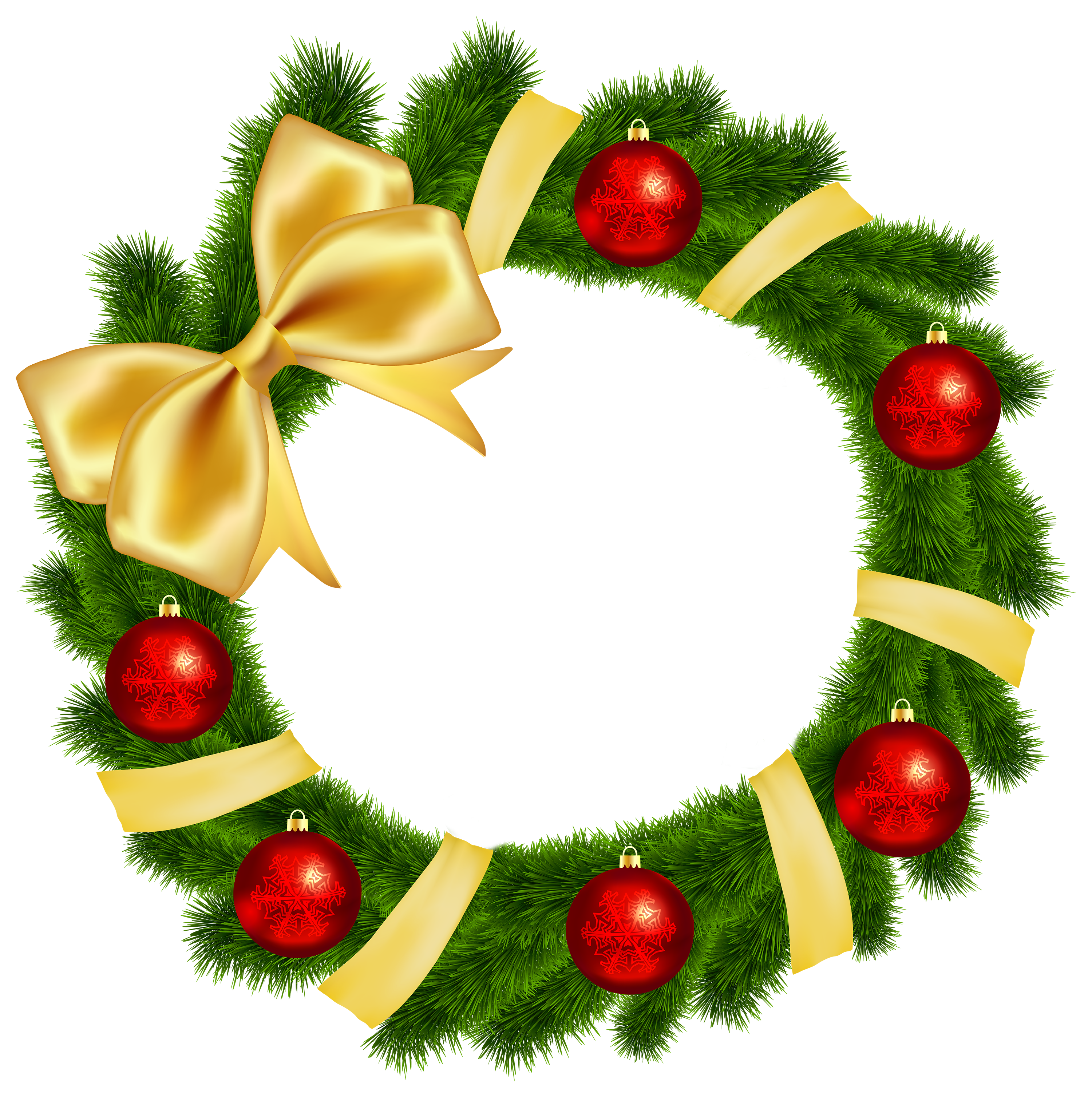 3000x3014 Christmas Wreath With Yellow Bow Transparent Png Clip Art Image