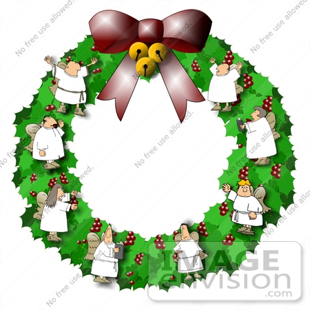 450x450 Christmas Wreath With Singing Choir Angels Clipart