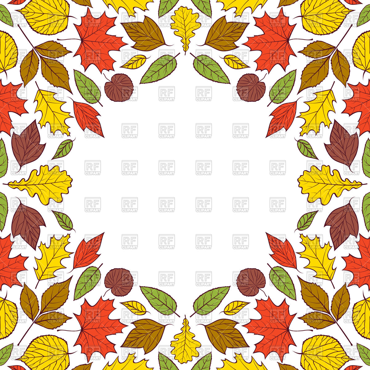 1200x1200 Colorful Frame With Autumn Leaves. Royalty Free Vector Clip Art