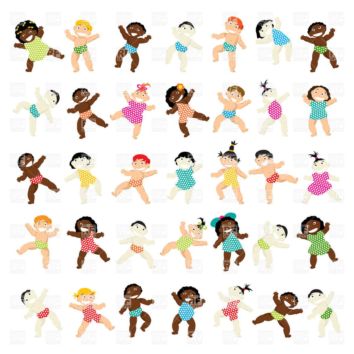 1200x1200 Multiethnic Babies Of All Races Royalty Free Vector Clip Art Image