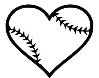 340x270 Heart Baseball Clipart