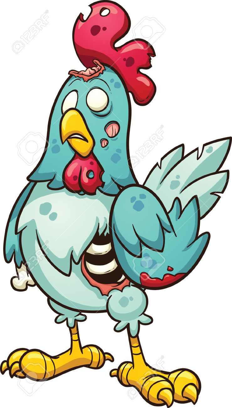 740x1300 Cartoon Zombie Chicken Vector Clip Art Illustration With Simple