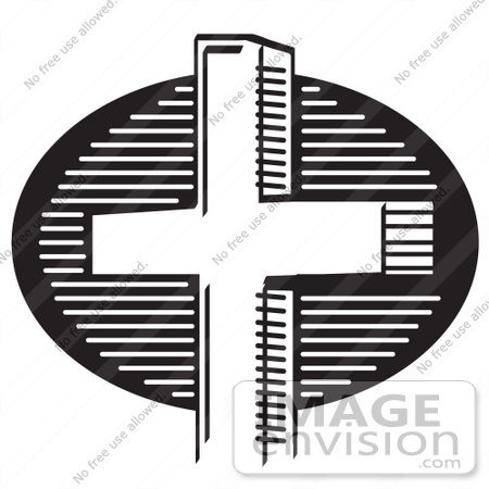 450x450 Royalty Free Black And White Cartoon Clip Art Of A Church Cross