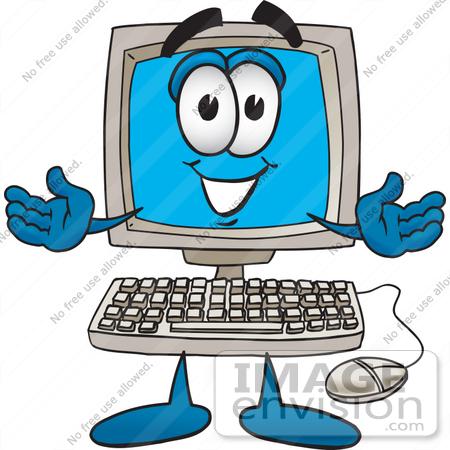 450x450 Clip Art Graphic Of A Friendly Desktop Computer Cartoon Character