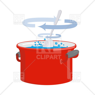 400x400 Red Pan With Water. Kitchen Utensils For Cooking. Royalty Free