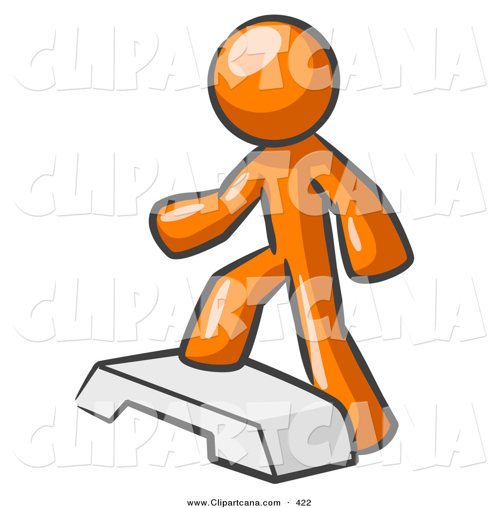 1024x1044 Vector Clip Art Of A Shiny Orange Man Doing Step Ups On