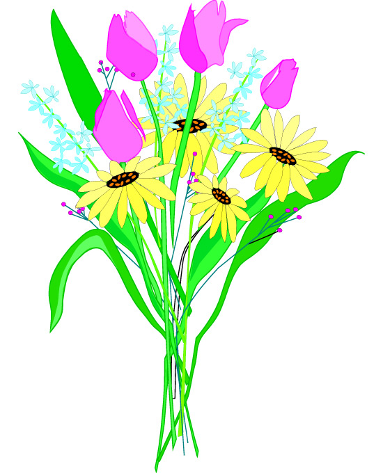 550x680 Clip Art Of Flower Bouquets Free Clipart Mixed