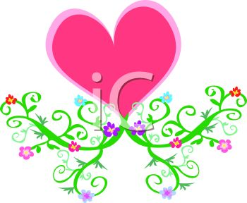 350x288 Pink Heart With Vines And Flowers