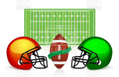 400x260 Two Helmets And American Football Field Royalty Free Vector Clip