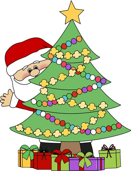 422x550 Christmas Clip Art Santa Behind A Christmas Tree