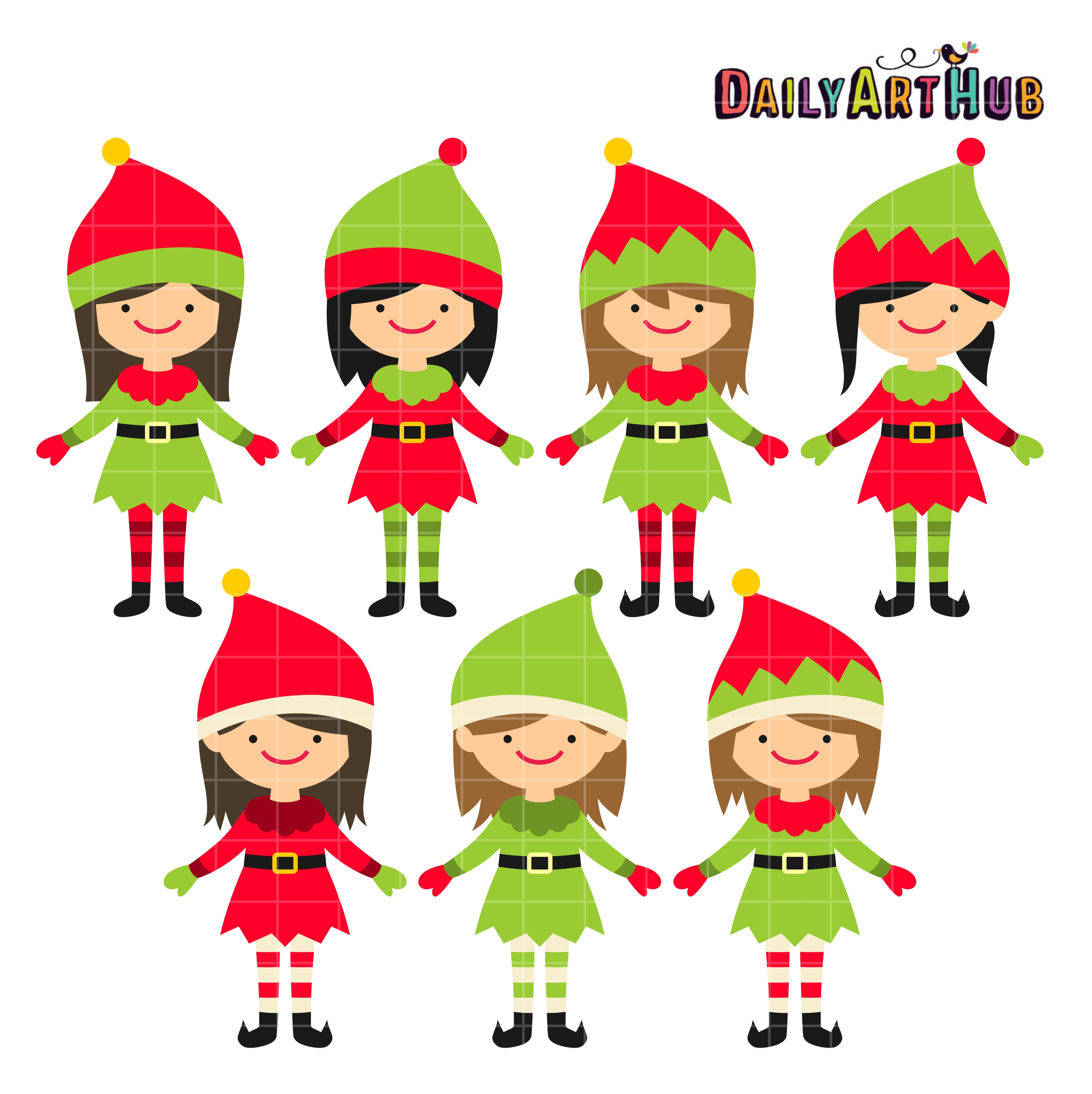 2664x2670 Christmas Cute Elves Clip Art Set Daily Art Hub