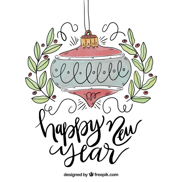 626x626 Lettering Happy New Year 2018 Vector Free Download