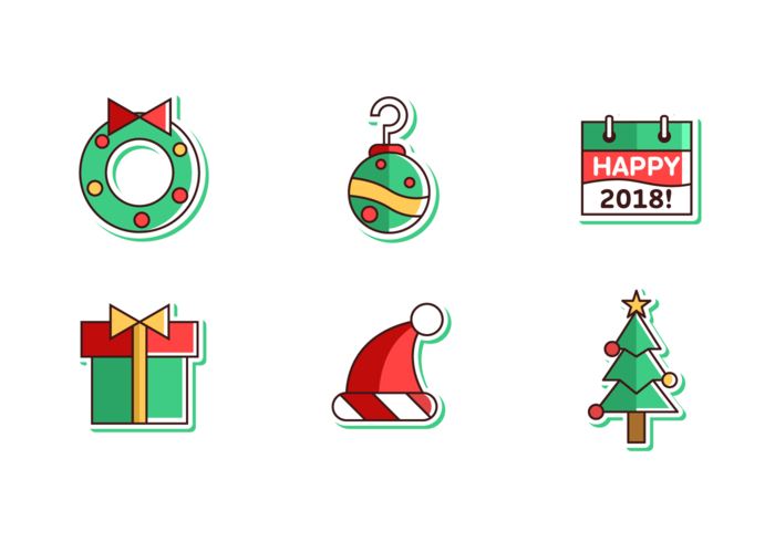 700x490 Merry Christmas And Happy New Year 2018 Free Vector Pack