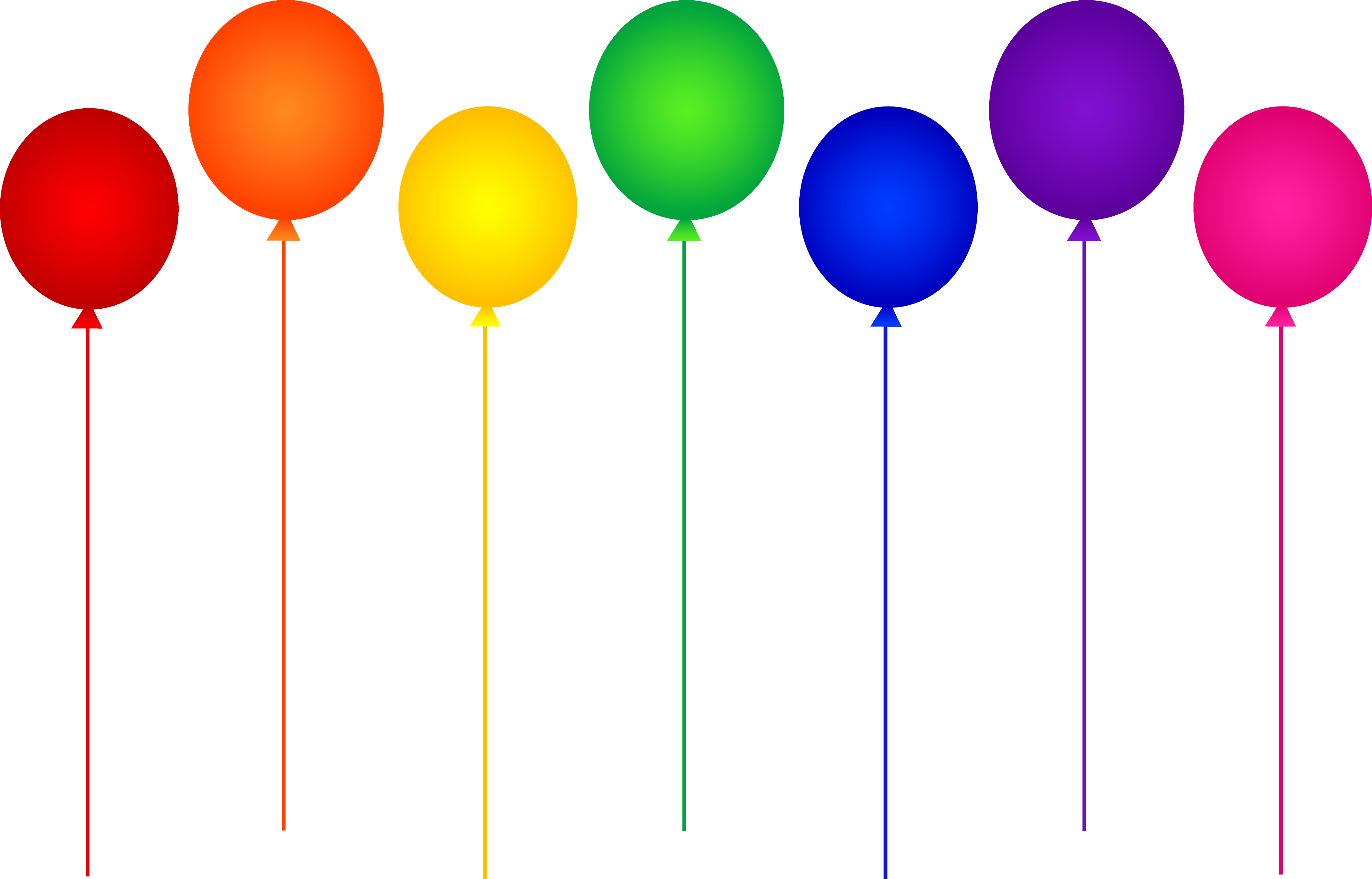 4485x2873 Seven Rainbow Birthday Party Balloons