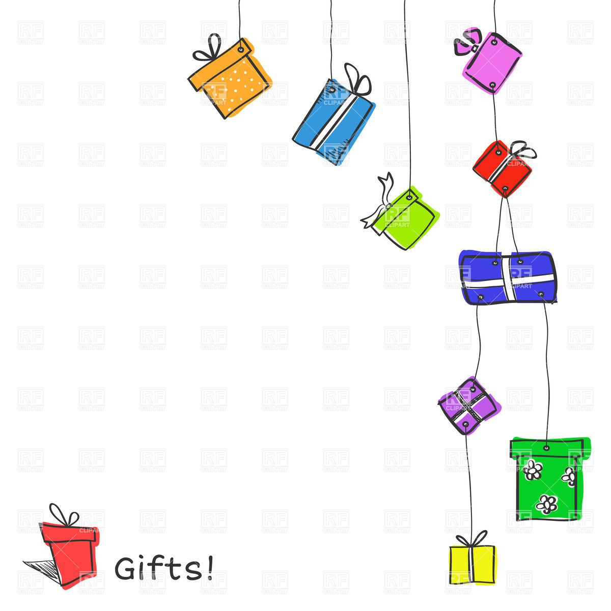 1200x1200 Hanging Gift Boxes On White Background Royalty Free Vector Clip