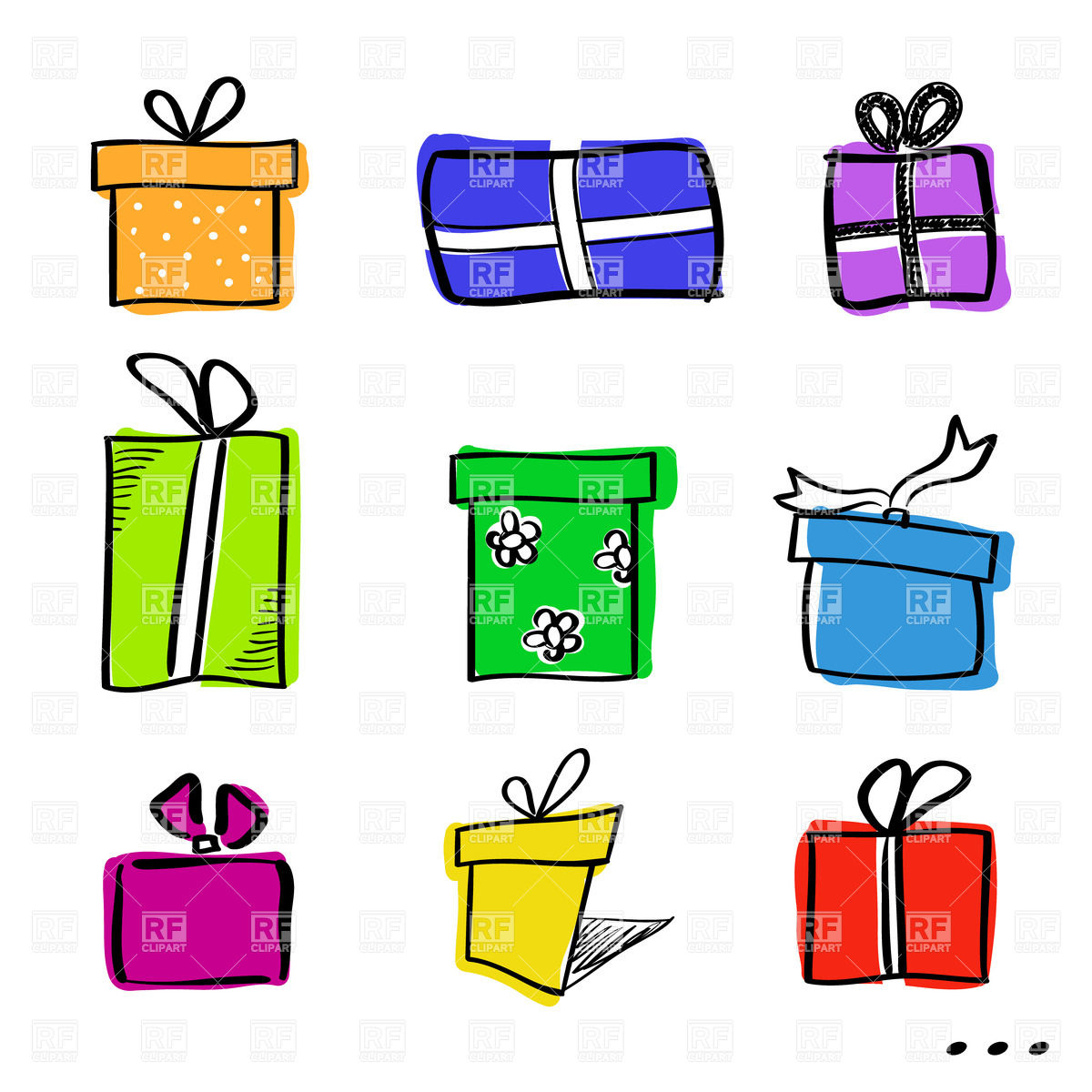 1200x1200 Cartoon Style Sketchy Gift Boxes Royalty Free Vector Clip Art
