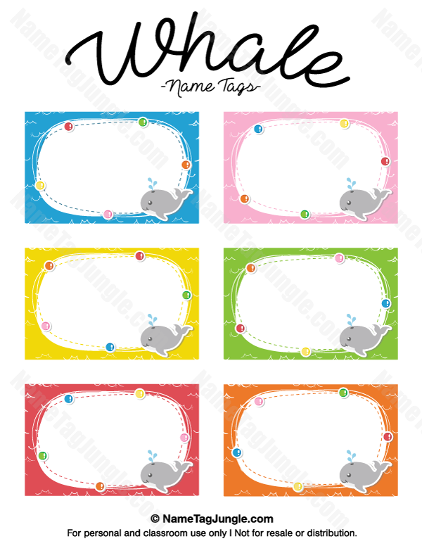 600x776 Free Printable Whale Name Tags. The Template Can Also Be Used
