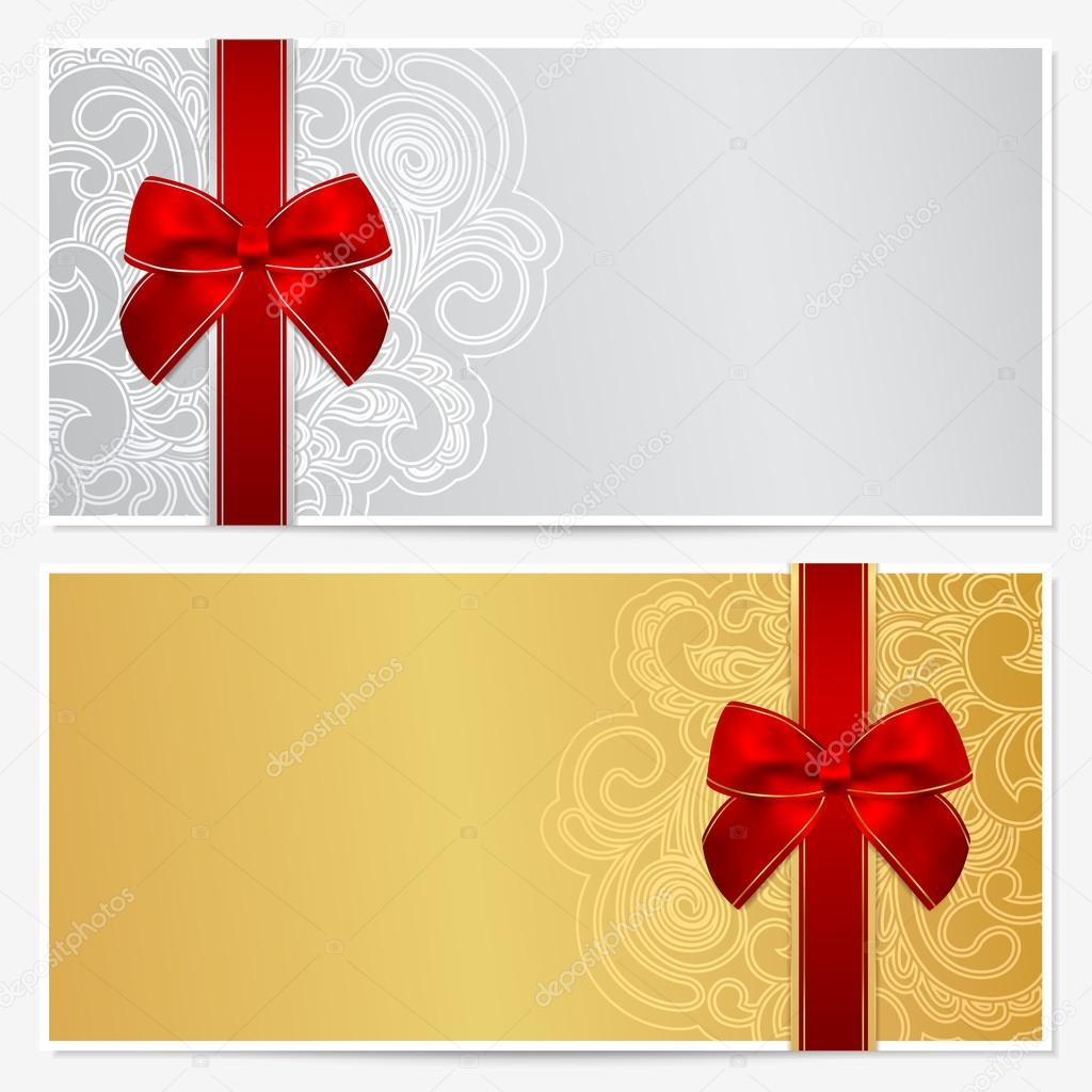 1024x1024 Voucher, Gift Certificate, Coupon Template With Border, Frame, Bow