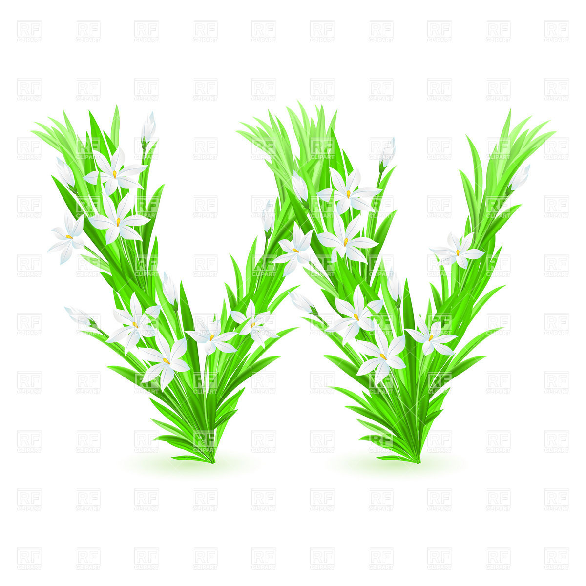 1200x1200 Grass And Spring Flowers Font Letter W Royalty Free Vector Clip