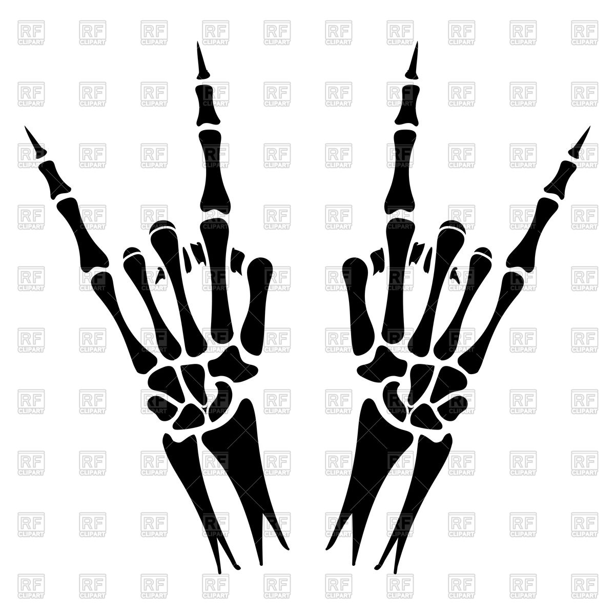 1200x1200 Skeleton Hands With Heavy Metal Sign On White Backdrop Royalty