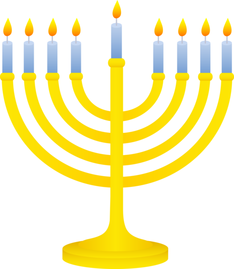 478x550 Golden Menorah With Lit Candles