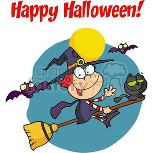 300x300 Royalty Free Happy Holidays Greeting With Halloween Little Witch