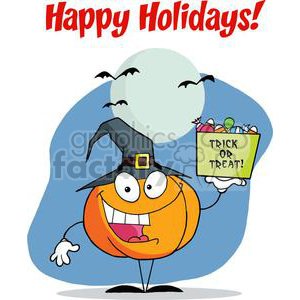 300x300 Royalty Free Happy Holidays Greeting With Pumpkin Holds Bucket